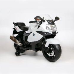 Детский электромотоцикл BMW K1300S 12V - Z283 белый (колеса резина, музыка, ручка газа)